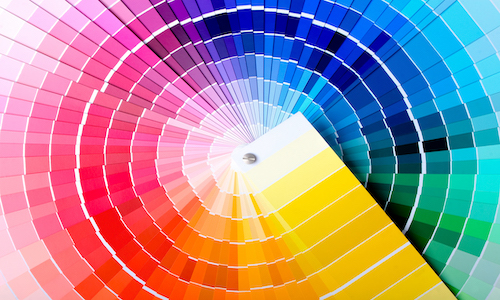 A fanned-out Pantone color wheel.